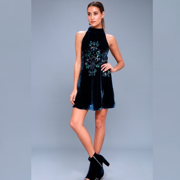 c1358dd4 Free People Dresses   Nwt Jills Navy Blue Velvet Sequin Swing Dress ...